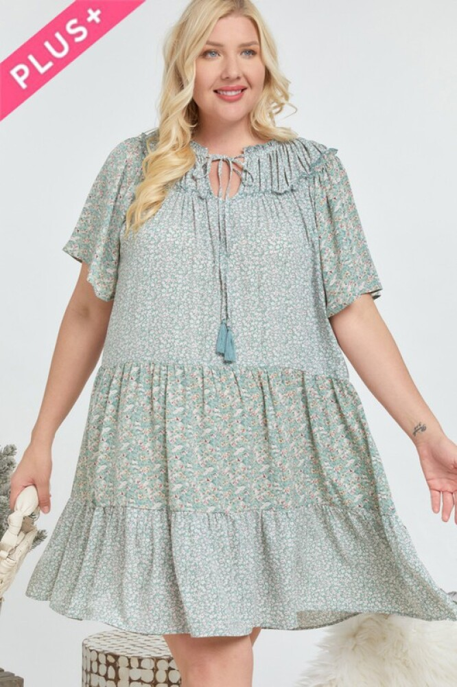 Plus size sage blomsterprint kjole.
