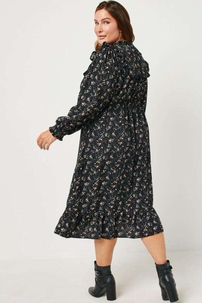 Sort midi kjole i Plus Size.