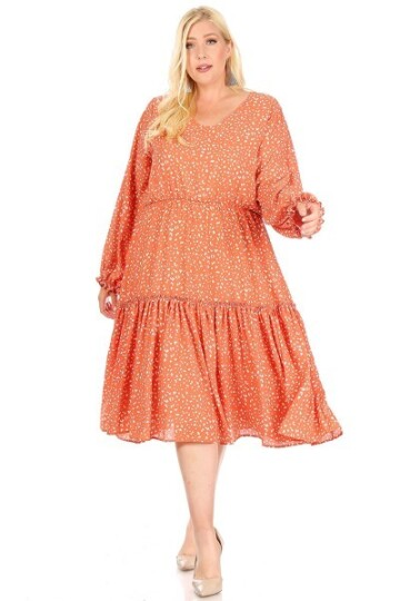 Orange farget kappe kjole plus size.