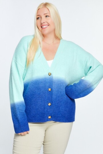 Turkis/blå  plus size cardigan.