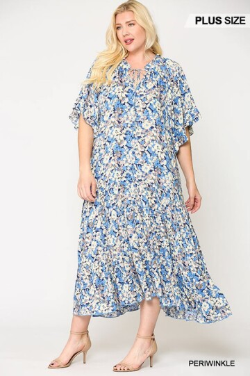 BlueFlowy Floral Maxi Dress with Ruffle