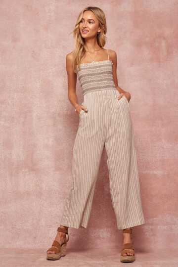 Charcoal farget pin striped jumpsuite.