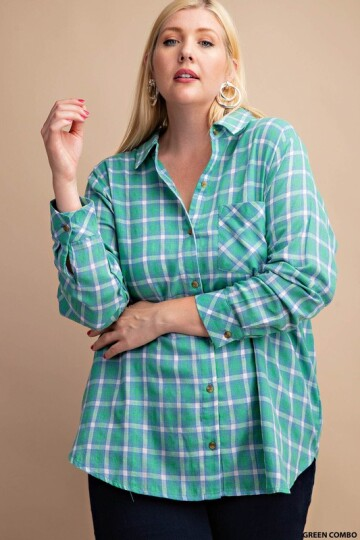 Green combo farget plaid skjort plus size.