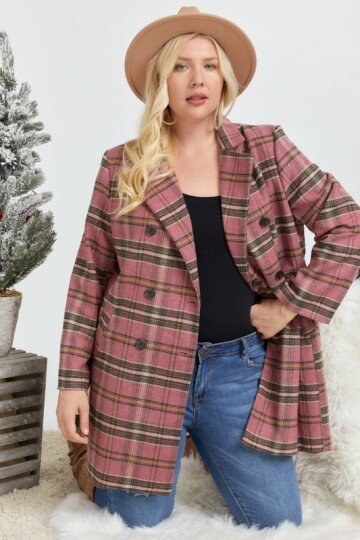 Rosa plaid jakke i Plus Size.