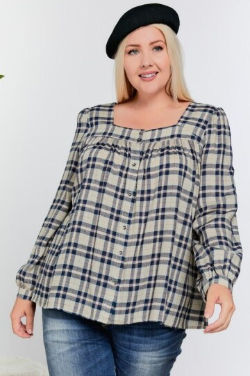 Navy plaid mønstrete plus size bluse.