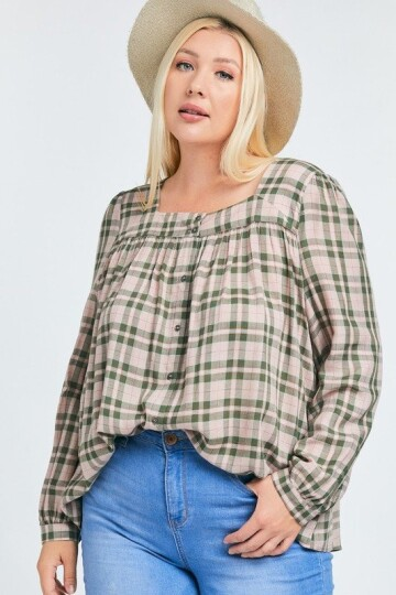 Pink plaid mønstrete plus size bluse.